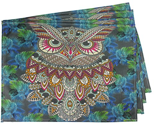FiTSTILL Quilted Placemats for Dining Kitchen Table, Non-Slip Nighthawk Look Wipe Clean Washable Mats, Set of 4 (Owl)