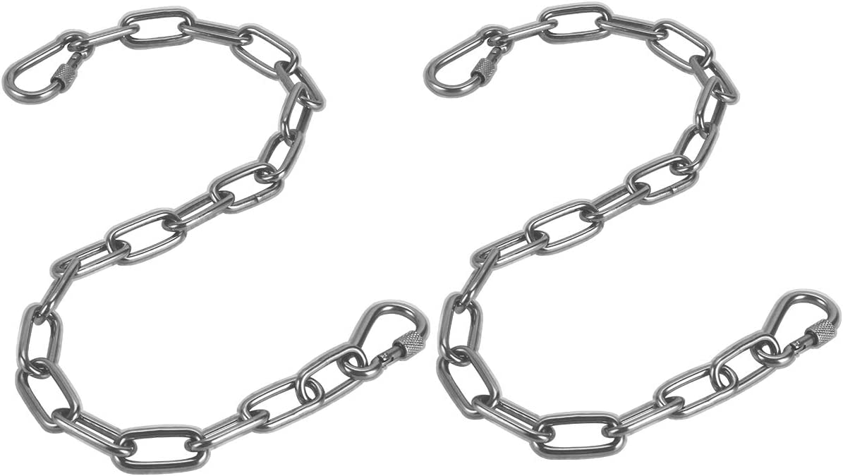 JJDPARTS Chain, Hanging Hammock Chair Chain Hanging Kits with Two Carabiners for Hammock, Sandbag, Hanging Chair Indoor Outdoor Two Chains 60cm 23 Silver