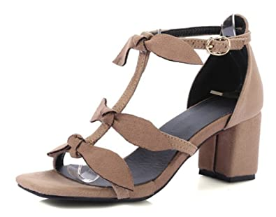 a3a7221e373 Aisun Women s Open Toe Buckled Covered Medium Block Heels Dress Elegant  Ankle Strap Sandals with Bows