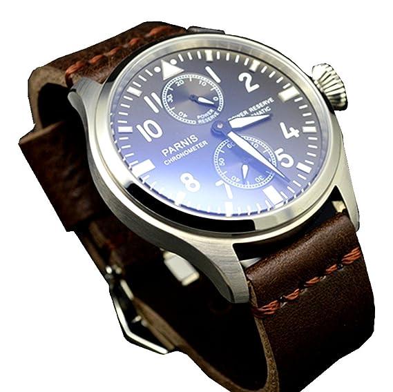 Parnis - Reloj de pulsera para hombre, 47 mm, de acero inoxidable, con correa de cuero: Amazon.es: Relojes