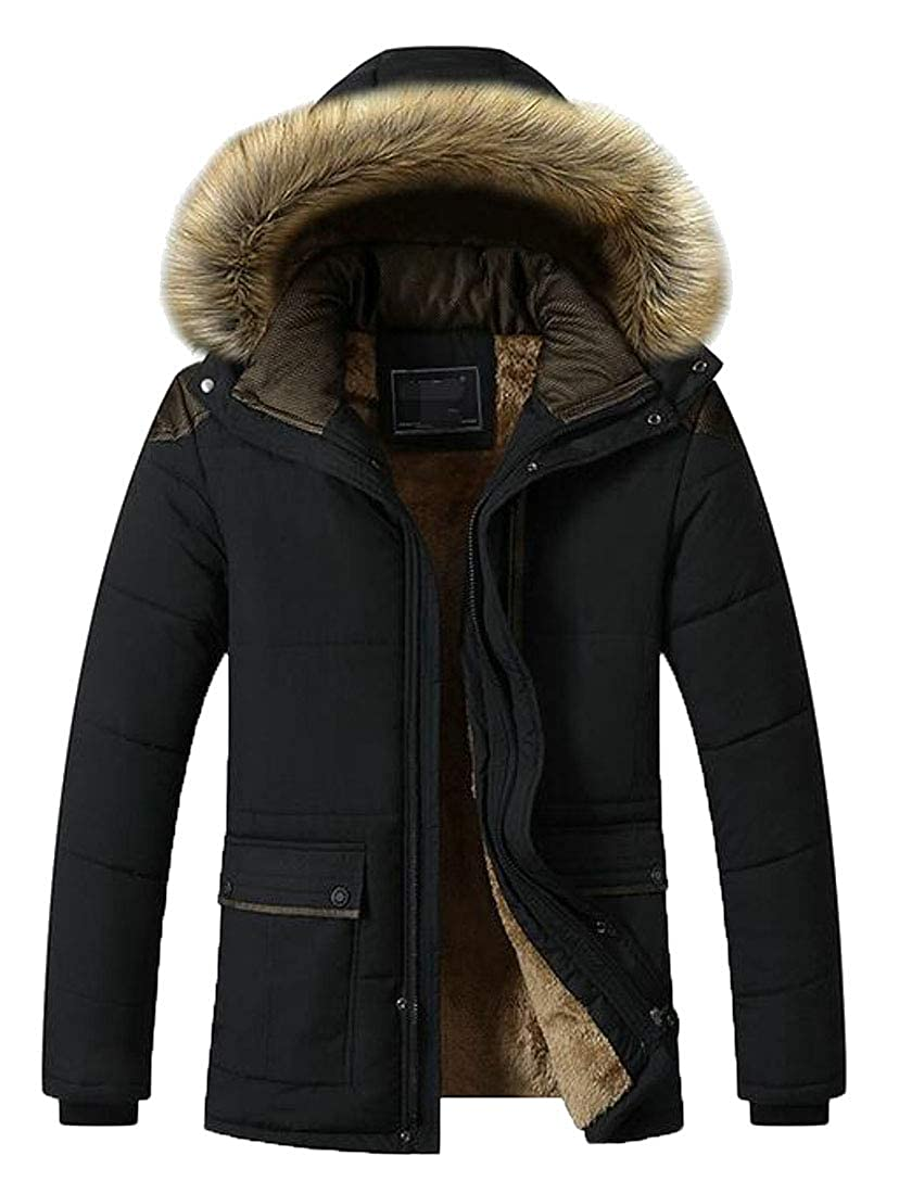 XXBlosom Mens Faux Fur Hooded Winter Wool Lined Warm Outwear Parka Jackets Coat