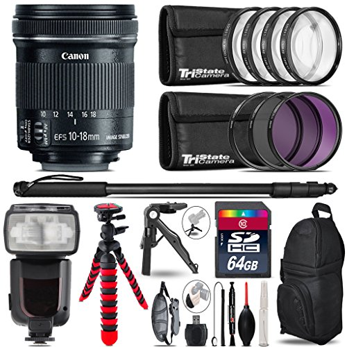 Canon 10-18mm IS STM Lens + Pro Flash + UV-CPL-FLD Filters + Macro Filter Kit + 72'' Photo/Video Monopod + Table-Top-Tripod + 64GB Class 10 Memory Card+ Backpack - International Version by TriStateCamera