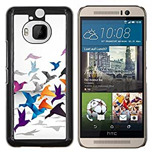TECHCASE---Cubierta de la caja de protección para la piel dura ** HTC One M9+ M9 Plus ** --Grulla de origami