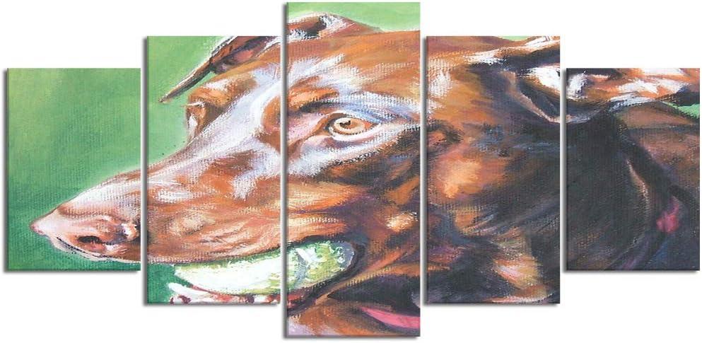 ZORMIEY Cuadro en Lienzo,5 Partes Pintura al óleo doberman perro rojo retrato mascota mascotas realismo l.a.shepard puppy de Arte de Pared Decoración del Hogar para el Cartel Modular