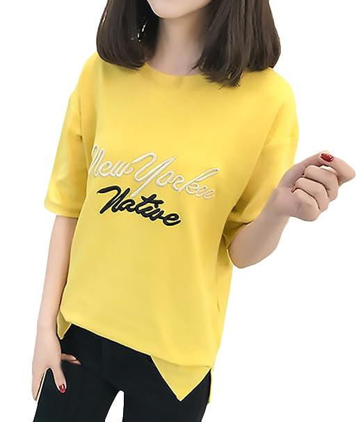 Camisetas Mujer Manga Corta Carta Bordados Cuello Redondo Tops Verano Elegantes Fashion Anchas Casual Basicas Tshirts Blusas Camisas Camisa: Amazon.es: Ropa ...