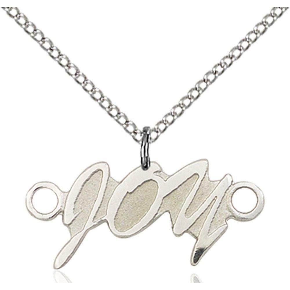 Bonyak Jewelry スターリングシルバー ジョイペンダント 3/8 x 1インチ スターリングシルバーライトカーブチェーン付き   B00P43GLZG
