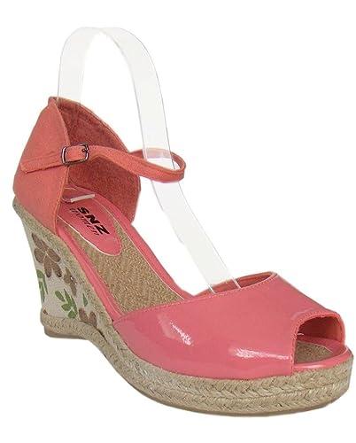 Schicke Damen Plateau Sandalette-Schuhe Rot Coralrot