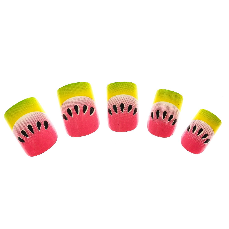 Claires-mujer-Lote De 24 falsos uñas plata, diseño De sandía, color rosa: Amazon.es: Belleza