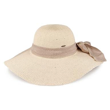 Village Hats Chapeau Été à Bord Large et Noeud en Lin Naturel Scala -  Ajustable ea74b1f8836