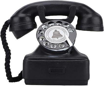 DERCLIVE Vintage Retro Antiguo Teléfono Fijo Teléfono Hogar Escritorio Decoración Ornamento Fotografía Accesorios Negro: Amazon.es: Juguetes y juegos