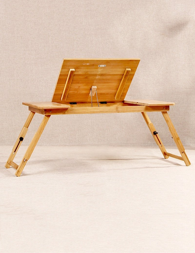 GUI Table-Bamboo Bed with Laptop Desk Can Lift Lazy Table Portable Computer Desk,A