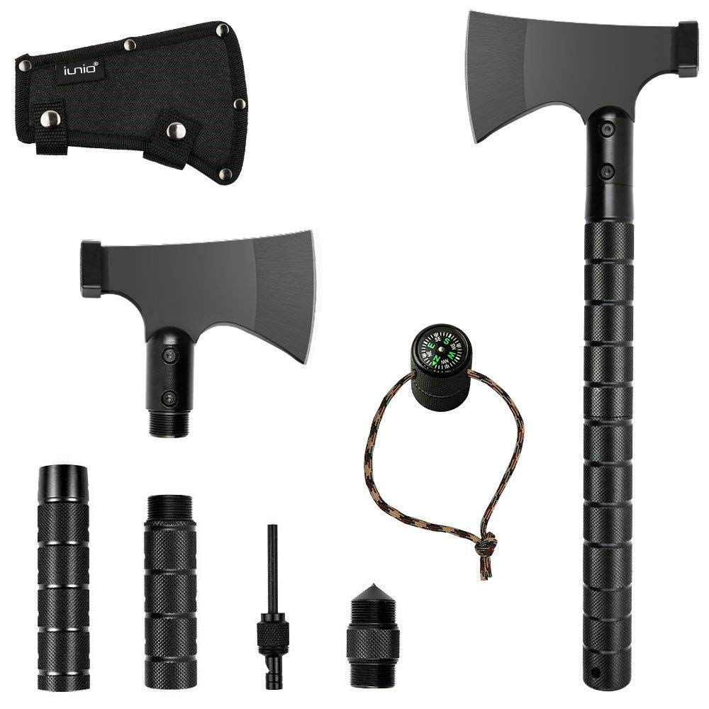 IUNIO Camping Axe Multi-tool Hatchet Survival Kit Tactical Tomahawk Folding Portable Camp Ax with Sheath Hammer Compass Flint Whistle for Outdoor Adventure Hiking Backpacking Hunting Emergency 16 inch
