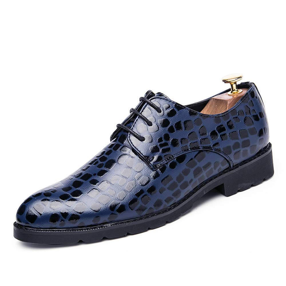 FuweiEncore 2018 Herren Business Oxford Schuhe, lässige Spitze, Dicke Krokodilleder, Formelle Schuhe, Schwarz, 40 (Farbe   Blau, Größe   UK 7 EU 40)