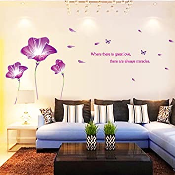 Amazon Com Wall Decal Purple Lily Flowers Butterflies English
