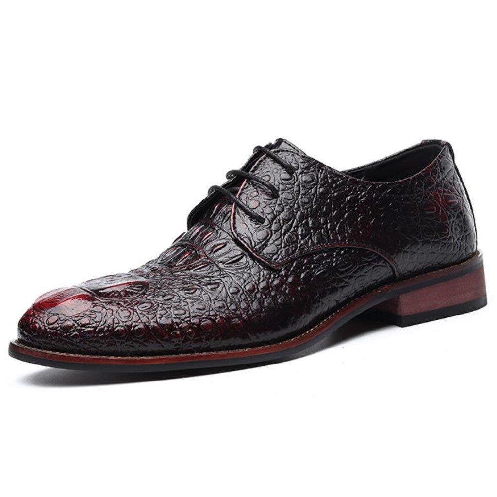 GAOLIXIA Zapatos de cuero de negocios acentuados de los hombres Zapatos de vestir formales Zapatos de banquete de boda Trabajar Zapatos profesionales Zapatos casuales de grano de cocodrilo ( Color : Rojo , tamaño : 39 ) 39|Rojo