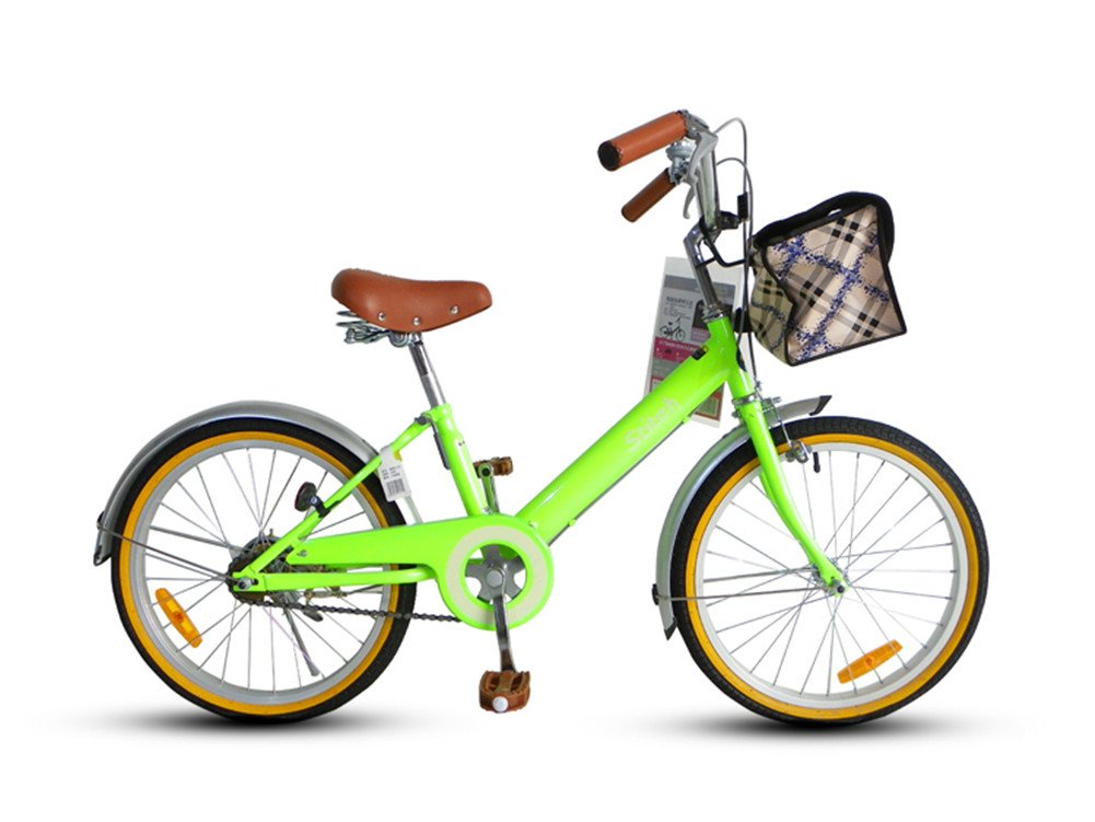 Cyfie 森 子供用自転車 バスケット付き 泥除け付き ベル付き 後ろブレーキ 女の子 8歳以上 20インチ 全8色  グリーン B01AL2X6ZM