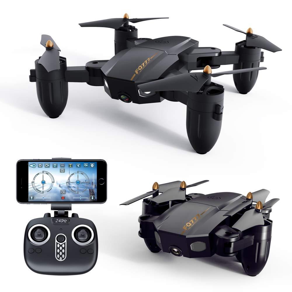 ZHAORLL Faltdrohne 200 Watt Pixel luftpositionierung Feste Vier achsen Flugzeuge WiFi tragbare Fernbedienung Flugzeug Spielzeug RC Geschenk (schwarz)