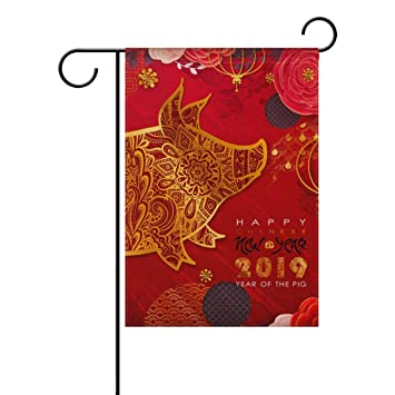 u life christmas new year winter red cute pig garden house flag yard banner for outside
