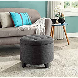 Convenience Concepts Designs4Comfort Round Ottoman Gray Fabric
