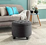 Extra Large Round Ottoman Convenience Concepts Designs4Comfort Round Ottoman Gray Fabric