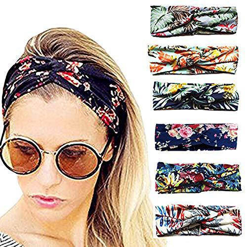 3e6cb6310ec9 6 Pcs Headbands for Women Girls Wide Boho Knotted Yoga Head Wrap Hair Band  Floal Style Criss Cross
