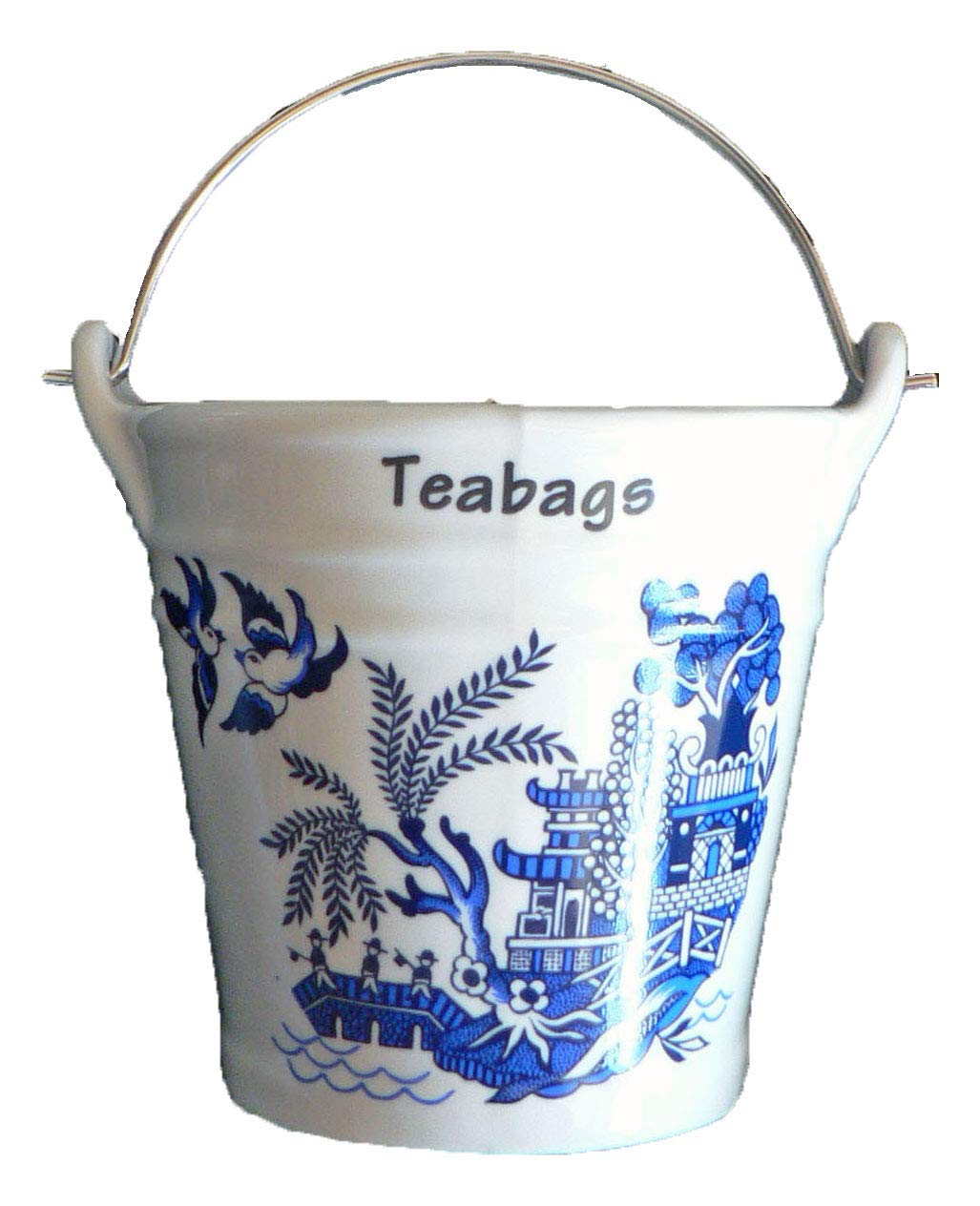 Blue Willow Pattern Design Bucket Teabag Tidy, Porcelain Bucket Teabag Tidy crackinchina