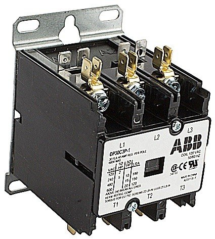 ABB, DP30C3P-F, 3 Pole, 30 Amps, 24VAC Coil, Definite Purpose Contactor by ABB