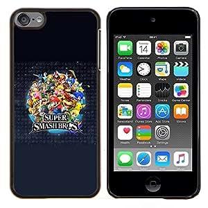 Smash Bros- Metal de aluminio y de plástico duro Caja del teléfono - Negro - iPod Touch 6