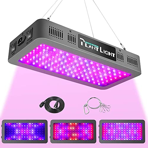 KEEGROW 1200 Watt Blurple Plant Light with Veg Bloom Double Switch, Daisy Chain Full Spectrum LED Grow Lights for Indoor Plants with IR UV, with Hanging Hook for Grow Tent, Hydroponics, Greenhouse