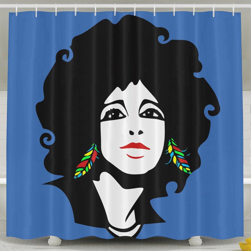 Cool African Woman Shower Curtain Fabric Bathroom Shower Curtain Set,72x60 Inch