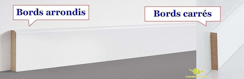 Plinthe en m/édium pr/épeinte blanche de tr/ès grande qualit/é Hauteur 10cm finition arrondi, 50 ml diff/érentes dimensions et finitions fabrication FRANCAISE