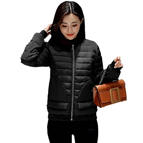 Ranboo Women Winter Stand Collar Chaqueta Solid Color Baseball Outerwear Coat