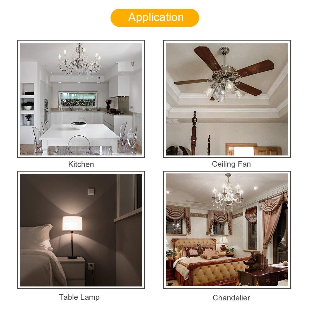 6 Pack 60 Watt Equivalent LUNSY E12 LED Candelabra Bulb Non-Dimmable 500 Lumens Warm White 2700K Chandelier Bulbs Decorative Candle Light Bulbs E12 Base