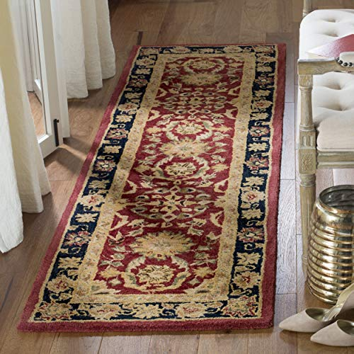 Safavieh Anatolia Collection AN517A Handmade Traditional Oriental Red and Navy Wool Runner (2'3