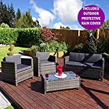 New ROMA Rattan Wicker Weave Garden Furniture Patio Conservatory INCLUDES RAIN COVER Sofa Set (Grey)