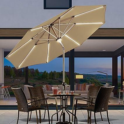 Parasol YXLZ Solar Al Aire Libre con Luz LED Mesa Al Aire Libre Market Sombrilla De Aluminio Manivela Inclinable Patio Sombrilla, Libremente Giratorio Al Aire Libre Market Sombrilla Sombrilla para J: Amazon.es: