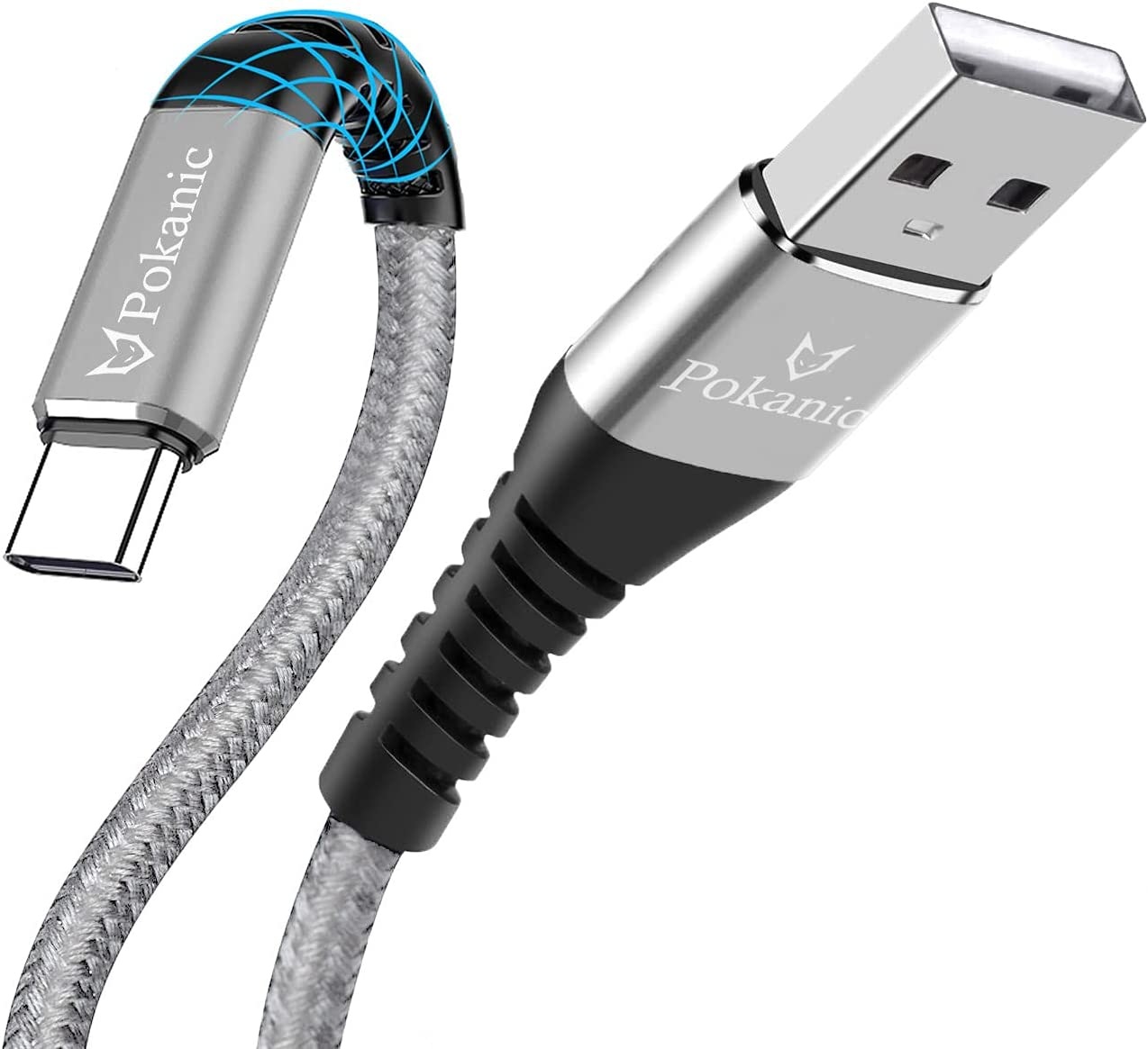 Pokanic USB C Type Cable Durable Nylon Braided Fast Quick Charging Connect Cord USB-C to USB-A Compatible with Apple iPad Pro Samsung Galaxy LG Google Pixel Nintendo Switch (1 ft, Silver - 1 Pack)