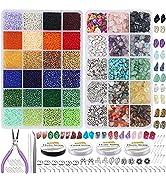 EuTengHao 15393Pcs Natural Gemstone Beads Irregular Chips Stone Beads 2mm Glass Seed Waist Beads ...