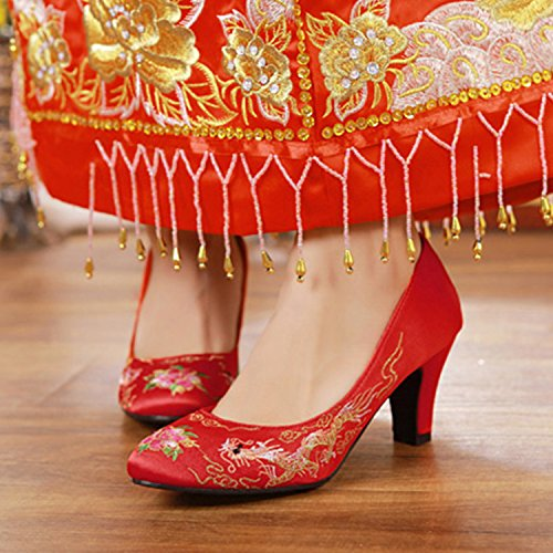 Thread Gold Thirty Shoes Shoes Dragon Show Comfortable 7Cm Wedding The Chinese Embroidery Shoes eight Bride Silver Show Shoes And Traditional Comfortable Wo KPHY Wo xz74qF