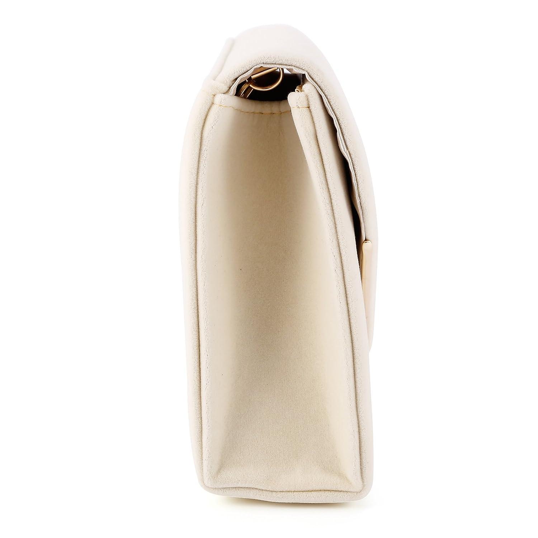 Anladia - Bolso de Mano Cartera de Mano con Cadena Larga 116cm para Mujer para Fiesta Boda Tipo Clutch Tipo Sobre Elegante Satén (Amarillo ligero): ...