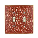 Meriville French Scroll 2 Toggle Wallplate, Double Switch Electrical Cover Plate, Parisian Red with Gold