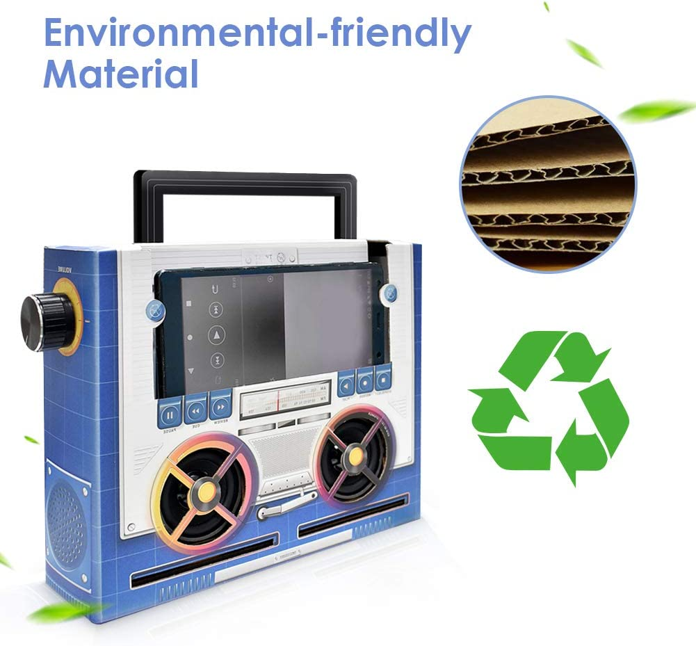 Portable Twist Speaker for Mobile Phone Panzerog DIY Wooden Handmade Toy Speaker Blue and White Creative Gift for Kids