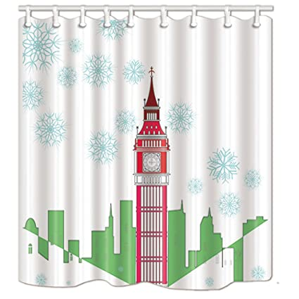 KOTOM Christmas Snowflake Shower Curtains Cartoon Big Ben With Green Cityline For Kids Lover