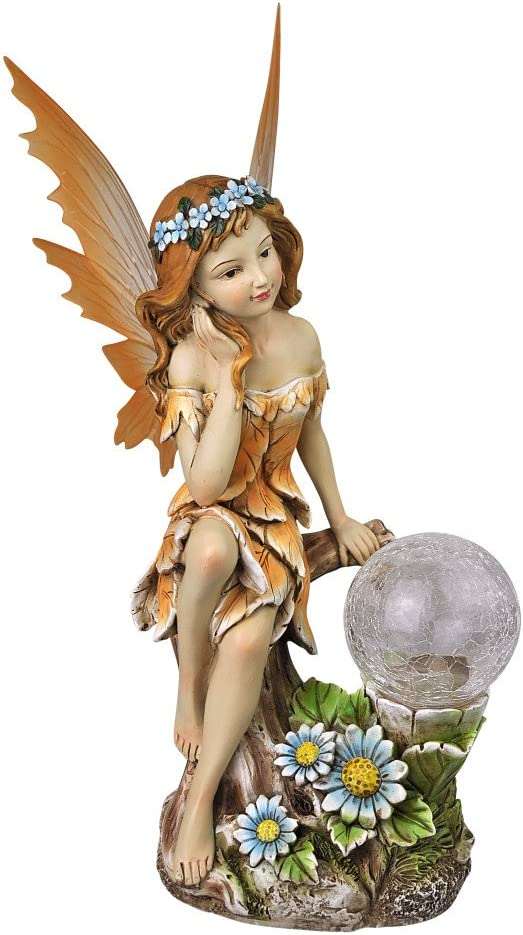 "Moonrays 91549 ""Ami"" Garden Pixie Statue with Solar Powered Color-Changing LED,Multi"