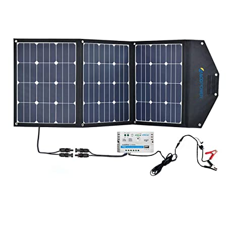 front facing acopower hy-3x35w18v2 solar panel kit with 10a charge controller