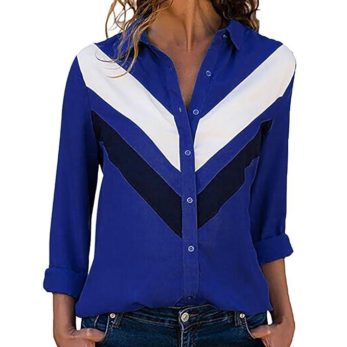 Longra V-Ausschnitt Damen Hemd Casual Langarm Farbblock Streifen-Shirt  Vintage Tunika Hemd T-Shirt Damen Elegant Blusen Button-Down Hemd  Freizeithemden ... 60c51ff67b