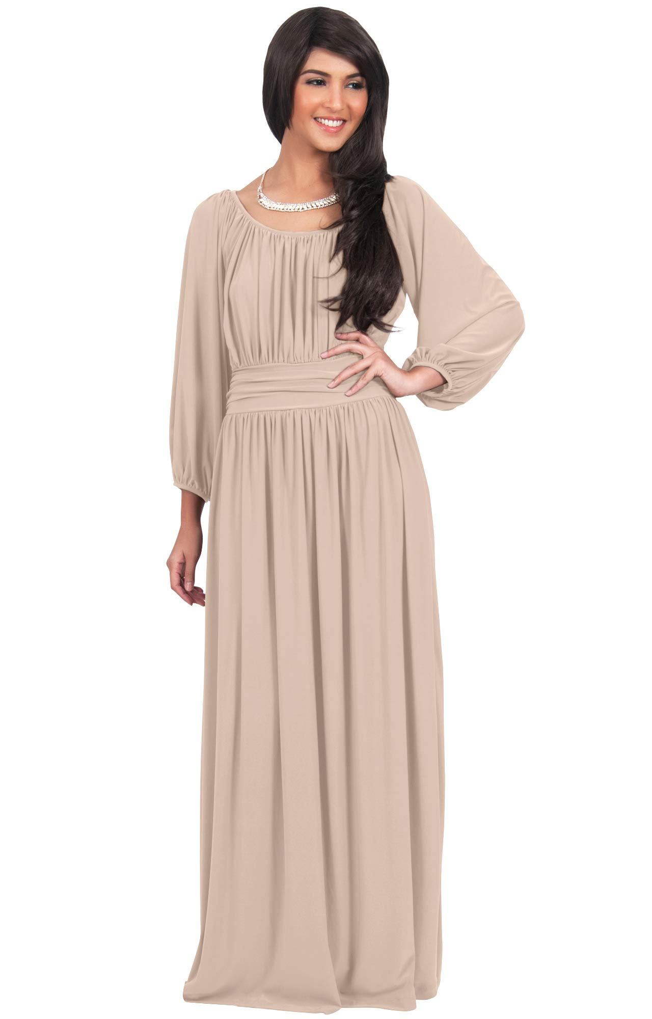 9b945e454cb KOH KOH Plus Size Womens Long Sleeve Sleeves Vintage Peasant Empire Waist  Fall Loose Flowy Fall Winter Casual Maternity Abaya Gown Gowns Maxi Dress  Dresses