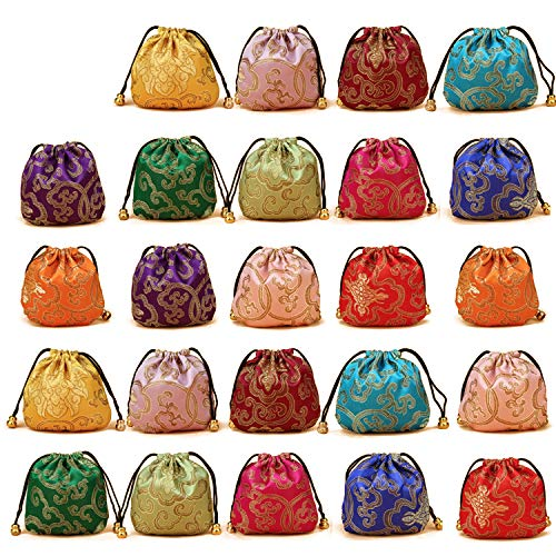 - Elesa Miracle 24pcs Silk Brocade Jewelry Pouch Bag, Drawstring Coin Purse, Gift Bag Value Set