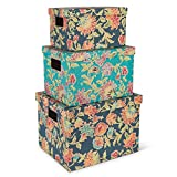Lone Elm Studios S/3 Nesting Boho Boxes Home Decor, 14.5InL x 11.5InW x 10.25InH, Multi