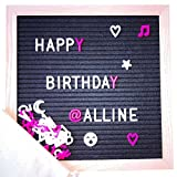 Changeable Letter Board, 10 X 10 Inch Black Felt with Solid Oak Frame Message Board Sign, Free Canvas Bag and 340 Characters (Black 10x10)